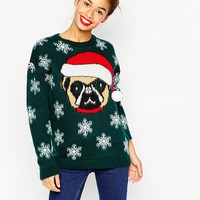 ASOS Christmas Jumper With Pug