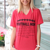 Football Mom Definition V-neck Tee {Red}