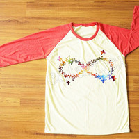Galaxy Infinity Butterfly Shirt Infinity Shirt Shirt One Direction T-Shirt Red Sleeve Tee Shirt Women Shirt Men Shirt Baseball Shirt S,M,L