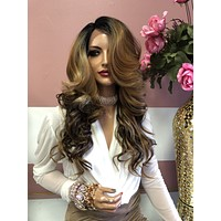 """Brown Balayage Lace Front Wig 18"""" 0219"""