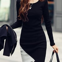 Black Long Sleeve Assymetric Mini Dress
