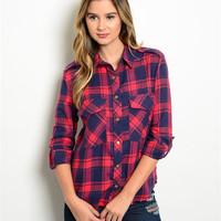 Red and Navy Plaid Flannel Top