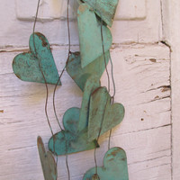 Metal heart garland distressed sea foam rusty metal hearts romantic shabby cottage wedding or home decor Anita Spero