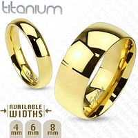 8mm Classic Wedding band Gold IP Solid Titanium Band Men's Ring