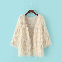 Faux Fur Sleeve Knitted Cardigan