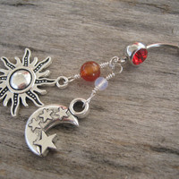 Sun Moon & Stars Belly Ring, Carnelian and Opal Opalite Belly Button Ring, Gemstone Belly Piercing, Equinox Charms, Nature Body Jewelry