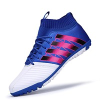 Men Soccer Shoes Indoor Football Shoes Boys Kids High Ankle Soccer Cleats Con 33-44