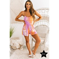 Nothing But Smiles Tie Dye Romper (Soft Lilac Combo)