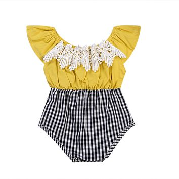 Summer Baby Kid Girls Grid Lace Splicing Fly Sleeve Tassel Plaid Jumpsuit Outfit Romper 0-24M