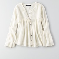 AEO BUTTON DOWN PEASANT TOP