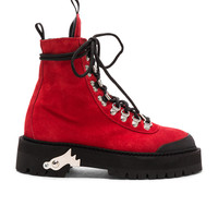 OFF-WHITE FWRD Exclusive Suede Hiking Boots in Red | FWRD