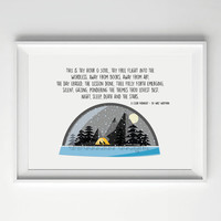 Walt Whitman Quote, A Clear Midnight Poem, Wild Camping Print, Snow Globe Illustration, Printable Poetry, Wilderness Poster, Mountain Print