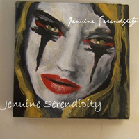 Goth girl catch 22 acrylic 3x3 inch canvas painting  OOAK