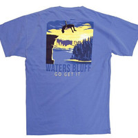 Waters Bluff Flipping' Out Short Sleeve Tee- Flo Blue