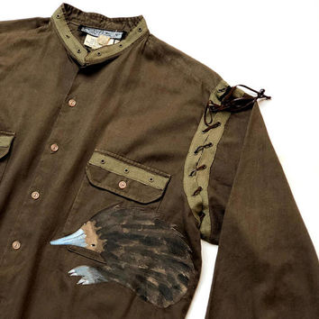 PRUE ACTON!!! Vintage 1980s 'Prue Acton' long sleeved army shirt with hand painted, Australian bush animal appliqués in suede