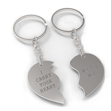 I Carry Your Heart With Me Half Hearts Couple Keychains Matching Key Ring