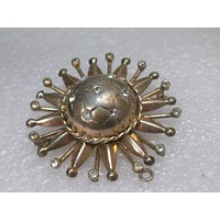 Vintage Sterling Silver Gold Washed Sun/Planet Brooch, signed EnZell Sterling, 1940's