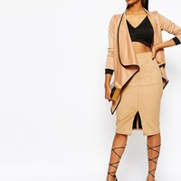 Boohoo Amelia Contrast Piping Waterfall Duster