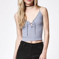 John Galt Ribbed Lace-Up Cami Tank Top at PacSun.com