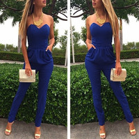 Clubwear Blue Sexy Women Clothes Cocktail Party Bandage Bodycon Jumpsuit Dress V Neck Backless Overall Trousers Romper Playsuits F_F