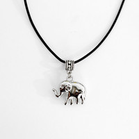 Elephant  Choker Necklace Pendant Statement Locket Cord Collar 90s Leather Harness Dress Trendy Boho String Tattoo Bdsm Grunge