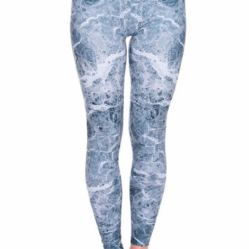 Marble Printed Leggings in Electric Grey // Handmade Women's Athletic Yoga Clothing