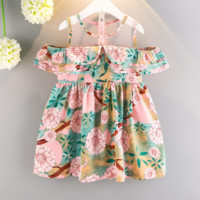 Flower girl dress for party and wedding summer kids girl clothes print Strapless princess dress