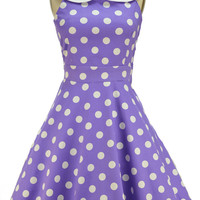 peter pan collared dottie sun dress - lavender & white polka dot | le bomb shop