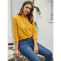 Solid Roll Up Sleeve Half Placket Blouse