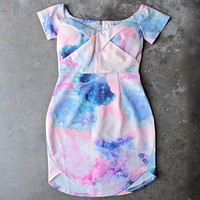 Final Sale - Dreamy Off The Shoulder Watercolor Bodycon Dress