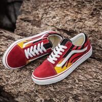 ONETOW Vans Classics Flame Red Low Tops Flats Shoes Canvas Sneakers Sport Shoes