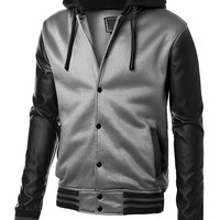 DressForLess Men's Layered Hooded Leather Jacket