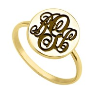 24K Gold Plated Circle Monogram Ring