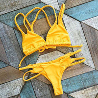 Yellow Bikini Set Beachwear Swimsuits +Free Gift Summer Necklace
