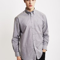 The Idle Man Long Sleeve Oxford Shirt Grey