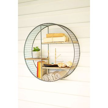 Round Wire Mesh & Recycled Wood Shelving Unit