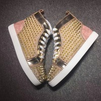 Christian Louboutin Cl Lou Spikes Gold Sneakers - Best Online Sale