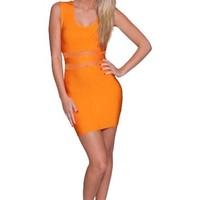 Beautifly Women's Lux Orange Bandage Cocktail Dress