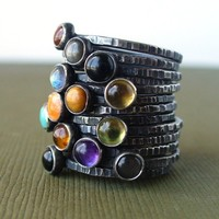 Pick 7  Sterling Silver Mother's Stackable Ring by LunasaDesigns