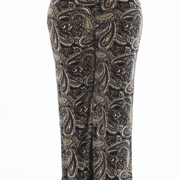 High Wasted Plus Size Paisley Pants