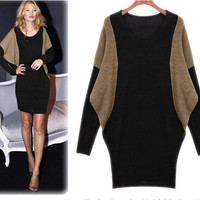 Plus Size Sweater Women's Batwing Sleeve Oversized Knitted Sweaters Dresses New Fashion 2016 Women Winter Sweaters Pullovers
