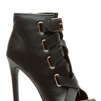 Black Faux Leather Strapped Open Toe Heels