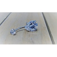 "Titanium belly ring pear shaped gemstone 14g 3/8"" or 7/16"" hypoallergenic navel piercing barbell teardrop gem"