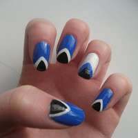 Cute Triangle Nail Art Must Have Nail Art Trend Royal Blue, White & Black Accent Nail False, Fake, Acrylic, Press On, Hand Painted Nail Set