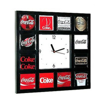 History of Coke Coca-Cola drink soda pop sign logo classic wall or desk clock