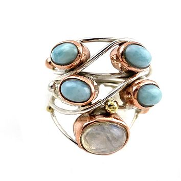 Larimar & Moonstone Sterling Silver Three Tone Collage Ring