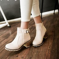 Buckle Zipper Chunky Heel Pumps Ankle Boots 3083