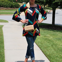 New Wave Chevron Tunic/Dress - Navy (S-XL)
