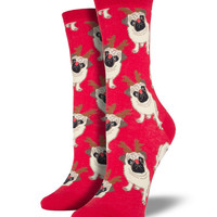 Socksmith Antler Pug Red Socks