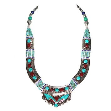 Turquoise Necklace Coral Necklace Tibetan Necklace NP1